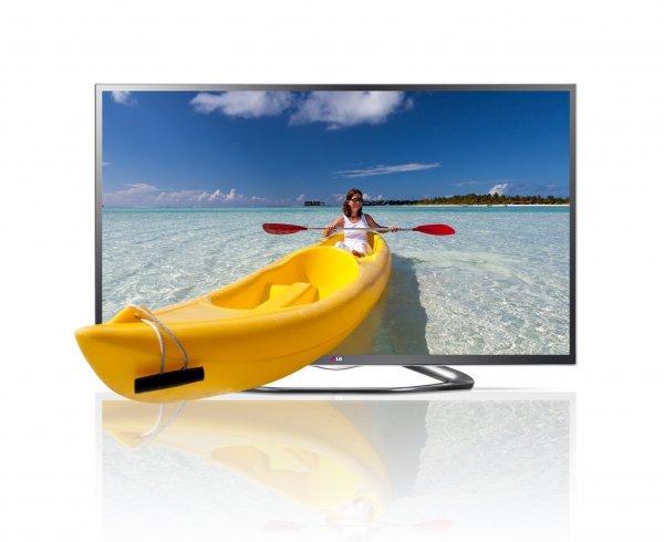 LG 42LA6418 106 cm (42 Zoll) Cinema 3D LED-Backlight-Fernseher, EEK A+ (Full HD, 200Hz MCI, WLAN, DVB-T/C/S, Smart TV) titan incl 4 Brillen und Versand für 449,99€ AMAZON