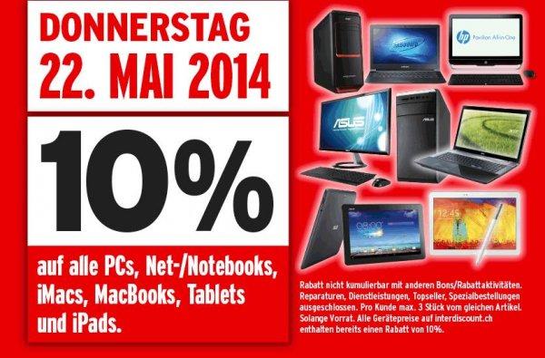 [Schweiz] 10% auf iPads, Tablets, MacBooks, iMacs, Notebooks & PCs | Bei Interdiscount.ch am 22.05.2014 | Keine VSK in die Schweiz