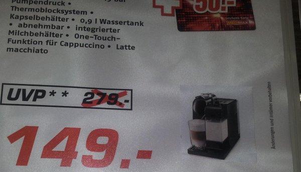 De Longhi EN 520.B Lattissima+  nur 149 € zzgl 100 € Nespresso Guthaben Aktion + 50 € MediMax Geschenk-Karte bei MEDIMAX Groß-Gerau