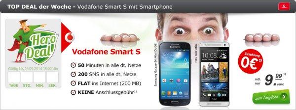 HTC One mini inkl. Vodafone Handy-Flat für nur 239,76 €