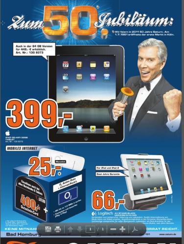 OFLLINE Ipad 32GB 3G für 399 € Saturn in Bad Homburg