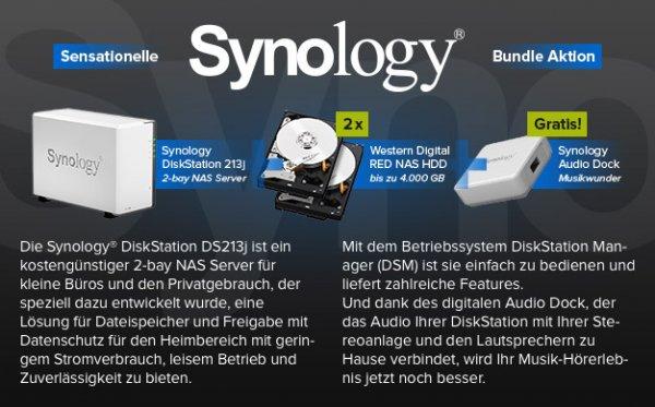 Synology DS213j Bundle Aktion mit gratis Audio Dock bei hoh