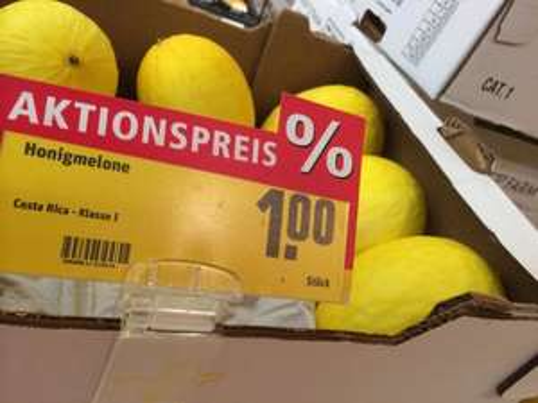 Honigmelone 1€ bei Rewe am Hbf in Dresden