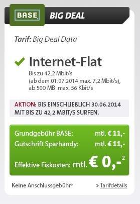 Base Internet Flat (500MB) Kostenlos @Sparhandy