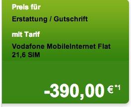 Vodafone Mobile Internet mit 390€ Auszahlung - 7,2Mbit/s oder 21,6Mbit/s