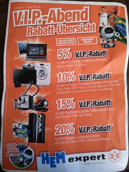 [Lokal] V.I.P-Abend bei HEM Wiesloch - z. B. 20% auf Lautsprecher, BluRays, Spiele und Software ... [z. B. 3 BluRays für 17,60 EUR!]