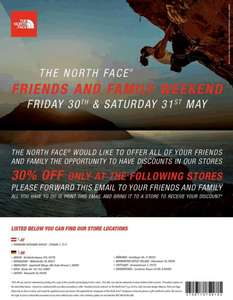 [Offline] THE NORTH FACE FRIENDS AND FAMILY WEEKEND 30% auf alles in allen offiziellen Stores