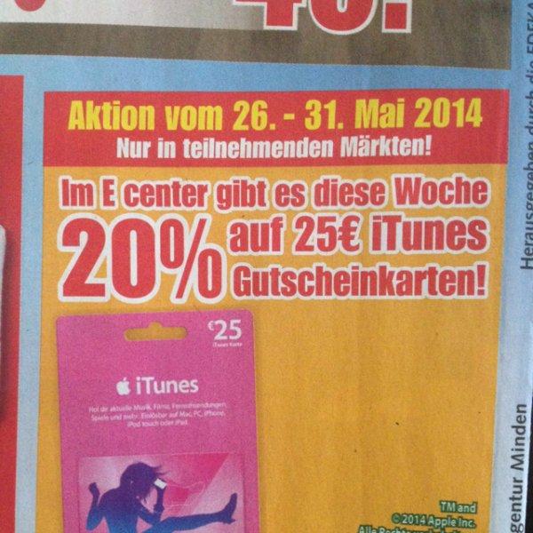 20% auf 25€ itunes Karten bei EDEKA