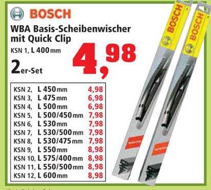 @ Thomas  Phillips 2er Set Bosch Basis-Scheibenwischer mit Quick Clip L400-L600
