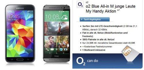 *Knaller* o2 Allnet-Flat + SMS-Flat + 2GB Surf-Flat für 24,99€ + Galaxy S5/HTC One M8 kostenlos (Junge Leute)