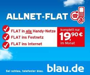 Blau.de Allnet Flat + Internet Flat 500MB effektiv 14,07€/monatl.