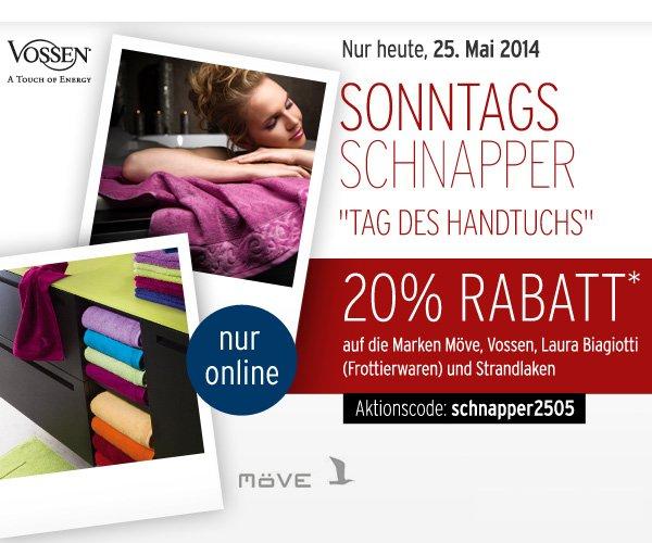 20% auf alle Frottierwaren von Möve, Vossen, Laura Biagiotti und Strandlaken @karstadt.de