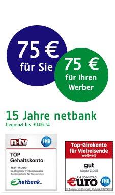 15 Jahre netbank - feier mit - 75€ bei Kontoeröffnung