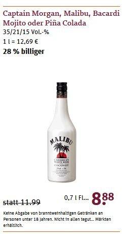 [tegut, bundesweit] u.a. Malibu Coconut - 8.88€