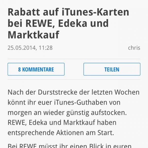 iTunes karten ab heute bei Edeka, Marktkauf und rewe