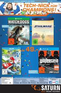 Saturn Hamburg/Norderstedt Flyer: z.B. WatchDogs, Mario Kart, Wolfenstein, Star Wars BRD
