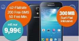 Samsung Galaxy S4 mini im o2 Blue Basic Aktion zu einmalig 9€