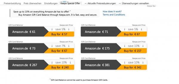 amazon.de Guthaben mit 5-10% Rabatt: 26 Euro - 381 Euro