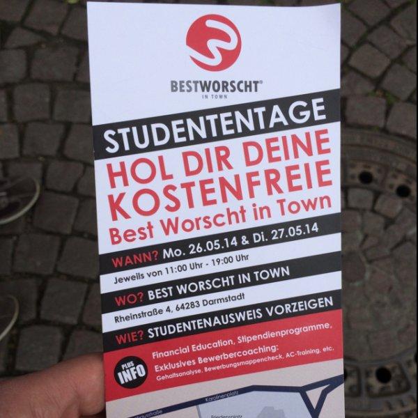 [Lokal Darmstadt] [Student] Kostenfreie Bestworscht in Town