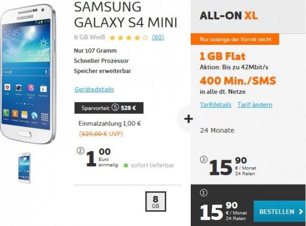 Simyo E-plus Vertrag 24Mon. All-On XL (1GB/400Min) mit S4 MINI effektiv 16,98€ Monatlich (7,86€ Monatlich wenn ihr das Handy gegenrechnet)