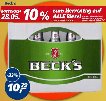 Beck's Kiste 20x 0,5l-Flasche für 9,71€ (1l = 0,97€) @ Real - nur am 28.05.