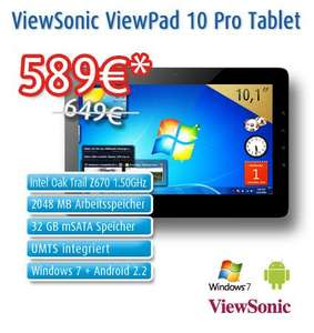 ViewSonic ViewPad 10pro Windows 7 + Android 2.2. Tablet
