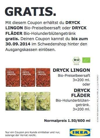 3 Trinkpäckchen Bio-Preiselbeersaft oder Bio-Holunderblütengetränk @ IKEA Hamburg-Moorfleet