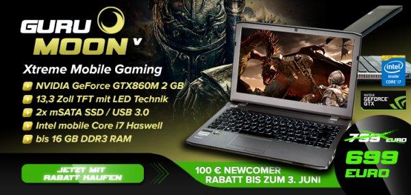 Guru Gamingnotebook 13,3 Zoll i5 GTX860M (Clevo W230SS)