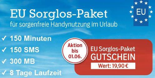 Für den Urlaub: 150 Minuten, 150 SMS, 300 MB (8 Tage) mit blau.de EU Sorglos-Paket