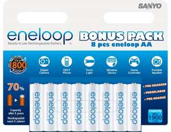 SANYO eneloop AA ReadytoUse Mignon NI-MH Akku HR-3UTGB-8BP für 16,68€