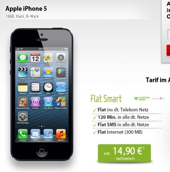 Apple iPhone 5 16GB (refurb) + md (D1-Netz) Tarif (D1 Flat, SMS Flat, 120 Minuten, 300MB) für zusammen 358€