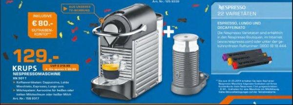 Nespresso Pixie Titan plus Aeroccino für 129€ inkl. 80€ Gutschein bei Saturn