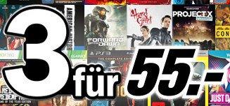 Mediamarkt.de: 3 für 55€. (Xbox One, PS4, PS3, PS Vita, PC, Wii, Blu-ray, etc).