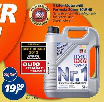 [Real] 5L LIQUI MOLY Formula Super 10W-40 Motorenöl für 19€