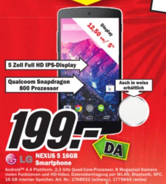 [Local] NEXUS 5 16GB Schwarz/Weiss 199 Euro MediaMarkt Dorsten am 1.6.2014