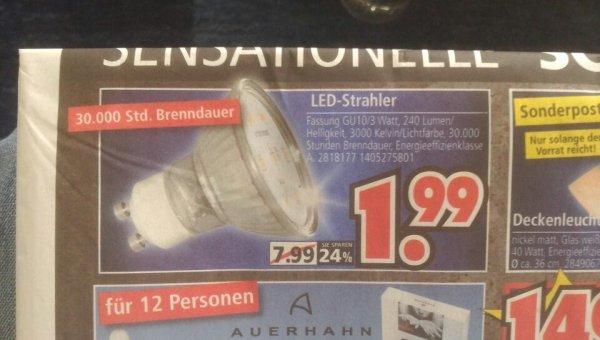 Segmüller Weiterstadt - LED-Strahler GU10/3Watt - sie sparen 24% :D