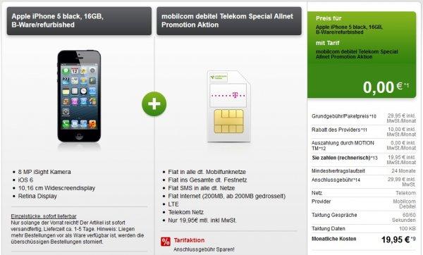 Allnetflat im Telekomnetz + IPhone 5 für 479€