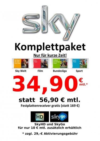 Sky komplett für 34,90€ noch bis zum 10.06.2014 bei folgendem Händler
