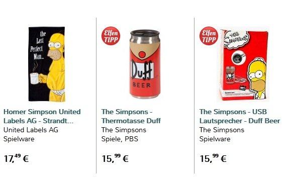 30€ Rabatt @elfen.de! Die 3 Simpsons Artikel: Straandtuch, Thermotasse und USB-Lautsprecher zum Preis von nur 19,47€  (bisher 49,47 €) inkl. Versand.