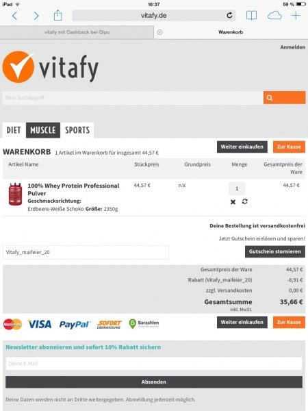 Scitec Nutrition Professional Whey 2,35kg (15,7€/kg) - evtl 8% qipu - nur heute noch