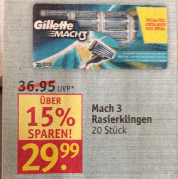 [Rossmann] Gillette Mach 3 Rasierklingen - 20 Stück