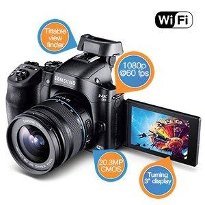 Samsung NX30 kompakte Systemkamera (20,3 Megapixel, 7,6 cm (3 Zoll) Display, Full HD Video, Wi-Fi, inkl. 18-55 mm OIS i-Function Objektiv) @iBOOD