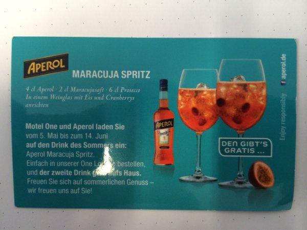 MOTEL ONE Aperol Maracuja Spritz 2 für 5,50 Euronen..