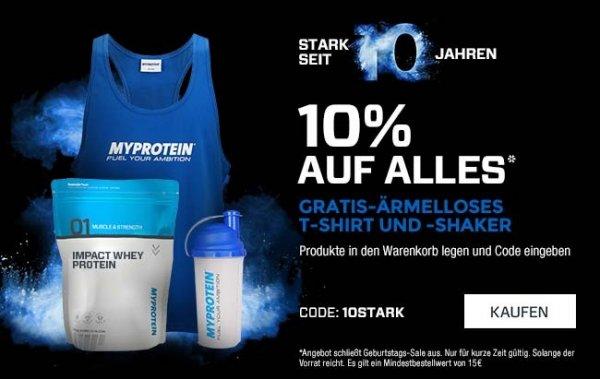 Myprotein 10% auf alles + gratis Shaker + gratis Oberteil (Wert 20€)