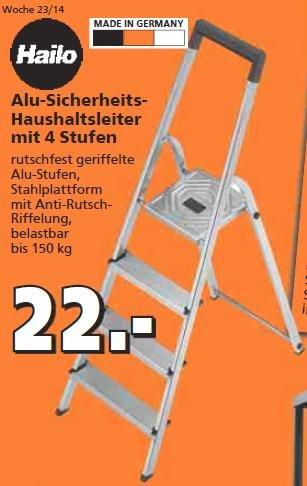 Hailo L20 Haushaltsleiter Alu, 4 Stufen, Stiftung Warentest GUT (2,1) für 22 € [offline]