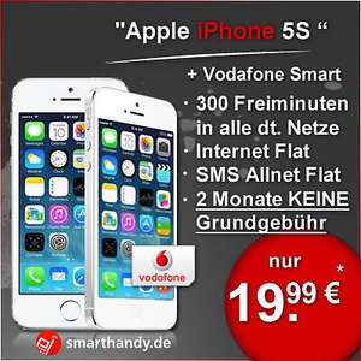 Iphone 5s + Vodafone Vertrag Smart M 300Freiminuten |SMS-Flat| Internet-Flat