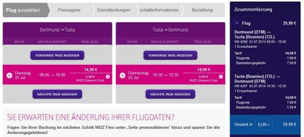 Flug von Dortmund nach Tuzla (Bosnien) - Hin und Rückflug für je 14,99€!