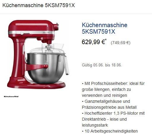 1,3 PS KitchenAid Profi-Küchenmaschine 5KSM7591X (749,69 € bei METRO)