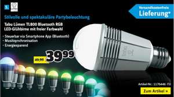 Tabu Lümen TL800 Bluetooth RGB LED Glühbirne mit Farbwahl
