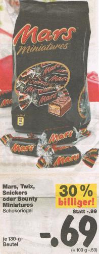 Mars, Twix, Snickers oder Bounty Miniatures-Beutel 0,69 Euro bei Kaufland - OFFLINE